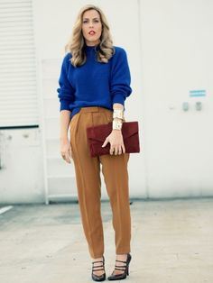 cobalt blue sweater and tobacco skirt