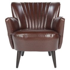 Arm chair with ribbed detail. Product: Chair    Construction Material: Birchwood and leather    Color: