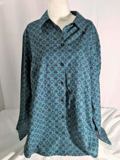 Chico's Women's Shirt Button Down Non Iron Blouse Long Sleeve Top Size 3.5 18 #Chicos #ButtonDownShirt