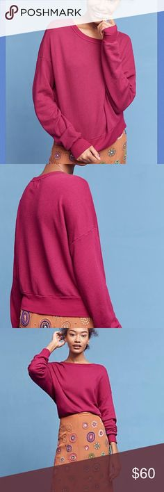 """🌸2 for $60🌸NWT Anthropologie Studio Sweatshirt Supersoft sweatshirt by T.La for Anthropologie in Purple.  Cotton, rayon, spandex; contrast stitching.  Pullover styling.  Approx 22"""" length. Anthropologie Tops Sweatshirts & Hoodies"""