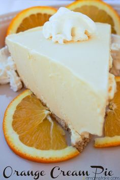 Frozen orange cream pie recipe - reminds me of a creamsicle popsicle!