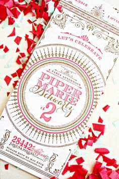 Oh So Beautiful Paper: Piper's Neon Pink + Gold 2nd Birthday Party Invitations
