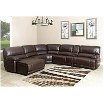 Abbyson Living Cooper Leather Sectional with reclining chaise and 2 recliners for basement/game room/home theater Leather Sectional, Sectional Sofa, Sectional Furniture, Leather Recliner, Couches, Grey Cushions, Armless Chair, Sit Back, Leather Furniture