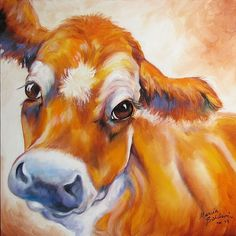 Cow Paintings On Canvas | MY JERSEY COW 2 COMMISSIONED ORIGINAL by M BALDWIN - by Marcia Baldwin