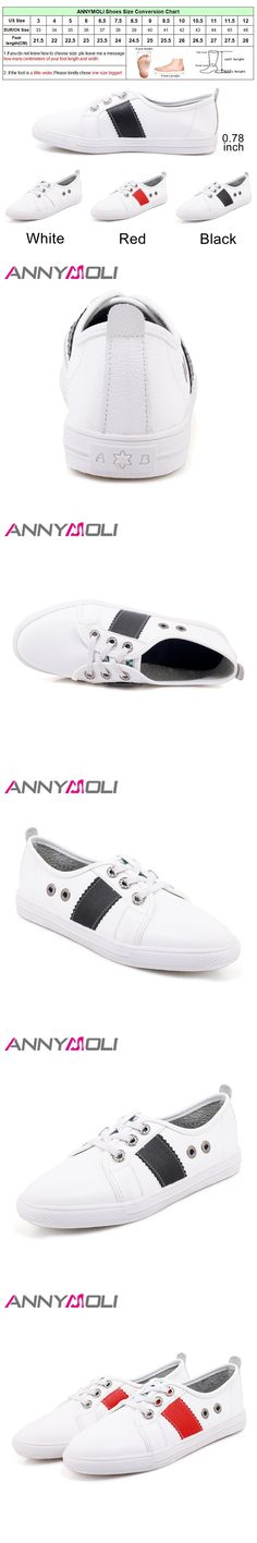 ANNYMOLI Shoes Women Sneakers Round Toe Lace Up Flats School Shoes Casual loafers White Black chaussures femme  Big Size 45 46