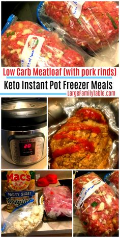 Low Carb Meatloaf (with pork rinds) is an awesome Keto Instant Pot Freezer Meal recipe! Make the keto diet work for you with this instant pot, meatloaf recipe! Meatloaf is a family favortite meal in many American households. Low Carb Keto, Low Carb Recipes, Diet Recipes, Pork Rind Recipes, Dessert Recipes, Zoodle Recipes, Coconut Recipes, Crockpot Recipes, Recipies