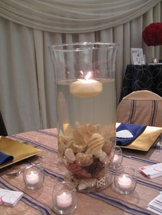 Easier centerpiece. Maybe do sand in the surrounding candles?