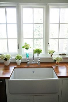 farmhouse sink with butcher block counters
