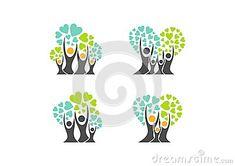 Family tree logo,family heart tree symbols,parent,kid,parenting,care,health education set icon design vector