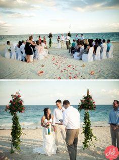 beach wedding photography - like the view of everyone watching