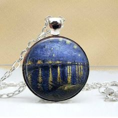 Starry Night Over The Rhone Dome Pendant Necklace - Famous Van Gogh Painting