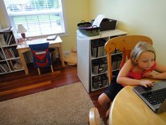 """Adalyn is a second grader at Laurel Springs School. She likes her learning space because """"It is cozy and also organized. I know where everything is so I can work but it is also comfortable."""""""