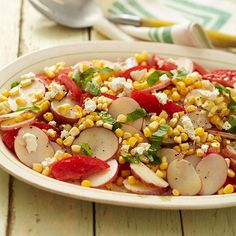 This Summer Vegetable Potato Salad is a tasty and healthy summer option! More healthy potluck recipes: http://www.bhg.com/recipes/party/party-ideas/heart-healthy-potluck-recipes/?socsrc=bhgpin082313veggiepotatosalad=11