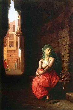 Jean-Léon Gérôme - Jeune femme arabe avec tuyau d'eau