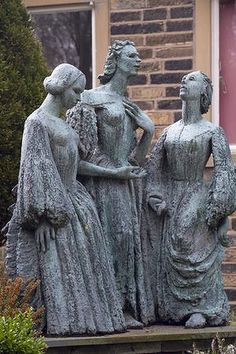 A statue of the Bronte sisters outside their home in West Yorkshire. Photo: Corbis