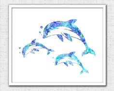 Dolphin print blue purple aqua dolphins dolphin painting