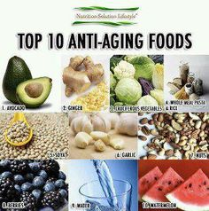 The Top 10 anti aging food: Healthy greens,Whole grains,Berries,Olive Oil,Tomatoes,Nuts,Red grapes,Fish,Teas,  and Herbs and spices. Click the link below for more details