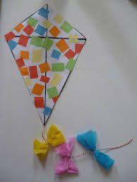 -Teken op een blad papier een vlieger - laat de kindjes stukjes scheuren van een blad papier. -Doe een beetje lijm op het blad -Laat de kinderen de stukjes er op plakken.