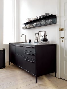 31 Black Kitchen Ideas for the Bold, Modern Home - Real Home Inspiration: black kitchen cabinets white island that look beautiful - Black Kitchen Cabinets, Black Kitchens, Ikea Kitchen, Home Kitchens, Kitchen Decor, Kitchen Modern, Kitchen Ideas, Maple Kitchen, Kitchen Cupboard
