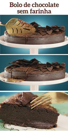 Sem farinha, o bolo fica com textura parecida com a de mousse, olha só que pecado!