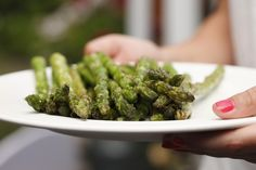 Brush asparagus with canola oil. Grill asparagus on an oiled rack set 5 to 6 inches over glowing coals until tender, 3 to 5 minutes on eac… Indian Food Recipes, Vegetarian Recipes, Appam Recipe, Gourmet Salt, Indian Cookbook, Fried Fish Recipes, Indian Street Food, India Food, Grilled Asparagus