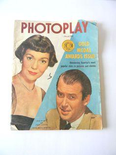 Photoplay March 1950 Movie Fan Magazine Jimmy Stewart Cover Jane Wyman Vintage