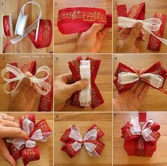 22 Creative Christmas Wrapping & Packaging Ideas: DIY Christmas Present Bow Tutorial Christmas Present Bow, Diy Christmas Presents, Christmas Bows, Christmas Gift Wrapping, Holiday Crafts, Christmas Ideas, Bows For Presents, Cheap Christmas, How To Tie A Christmas Bow