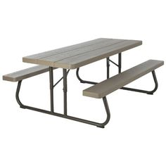 Lifetime 60105 Wood Grain Picnic Table and Benches, 6 Feet, Brown - Just exactly what I wanted.When you need new patio furniture and outdoor furniture, you're n Picnic Table Bench, Folding Picnic Table, Patio Table, Outdoor Rocking Chairs, Plastic Adirondack Chairs, Patio Furniture Covers, Bench With Storage, Easy Storage, Patio Seating