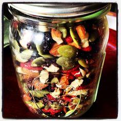 Raw Snack Jars ~ The Skinny Weigh (mulberries, golden berries, goji berries, raw almonds, raw cashews, raw pepitas, currants, cacao nibs)
