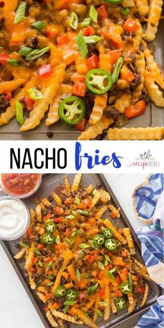 These Nacho Fries are better than Taco Bell! Perfectly seasoned and topped with taco beef, lots of cheese, peppers, and green onions. #fries #appetizer #beef #cheese #recipes | easy appetizers | ground beef recipe | easy dinner ideas | fun food | party food