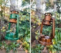 Old School Lantern Planters & Making A Faux Antique Pulley Old Lanterns, Lanterns Decor, Hanging Lanterns, Vintage Industrial, Industrial Style, Industrial Lamps, Industrial Furniture, Electric Gate Motors, Pipe Table