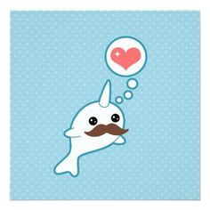 Cute Mustache Narwhal Birthday Card
