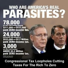 Who are America's REAL Parasites? Congressional Tax Loopholes Cutting Taxes for the Rich to ZERO