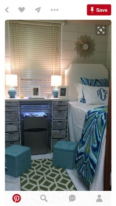 I like the drawers next to the bed and the monogrammed pillow.