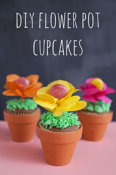 tell love and chocolate: TELL: SPRING FLOWER POT CUPCAKES...maybe win fruit leather to make it more school friendly..