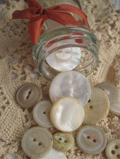 Little Treasures: Vintage Ball Jar filled with Mother of Pearl Shell Buttons.