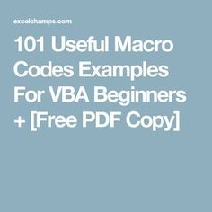 Useful Macro Codes Examples For VBA Beginners + [Free PDF] - Excel Tips about you searching for. Computer Technology, Computer Programming, Medical Technology, Energy Technology, Technology Gadgets, Computer Lessons, Computer Tips, Computer Keyboard, Vba Excel