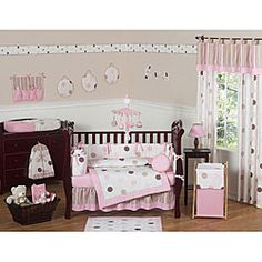 @Overstock - Give your babys room a modern flair with this stylish crib bedding set from JoJo Designs. It includes pieces for the crib, walls, and windows for a nursery that is completely coordinated. The pink and neutral dot colors complement many wall colors.http://www.overstock.com/Baby/Pink-Polka-Dot-9-piece-Crib-Bedding-Set/5298469/product.html?CID=214117 $189.99