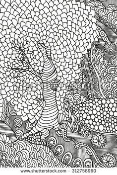 Old Tree Abstract Colouring Page Adult Coloring PagesColoring
