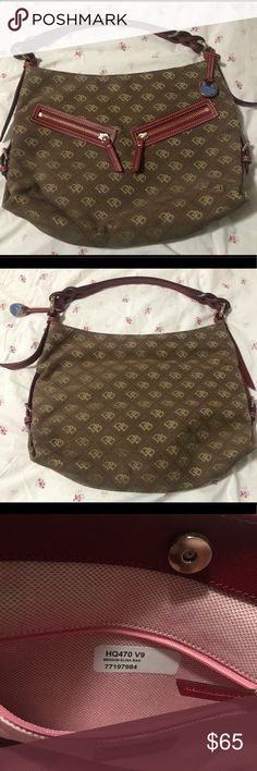 👜❤️ Dooney & Bourke purse ❤️👜 ❤️ NWOT D&B purse, product sticker still inside, Brown w/ Burgundy details, inside and two outside zippers ❤️ Dooney & Bourke Bags Shoulder Bags
