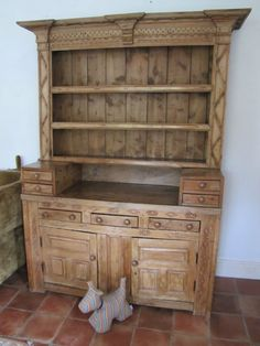 Early Victorian Large Rustic Country Pine Dresser