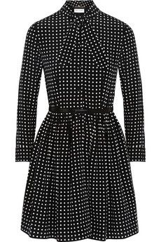 Saint Laurent Polka-dot silk crepe de chine dress | NET-A-PORTER $2490 EDITORS' NOTES & DETAILS Saint Laurent's polka-dot dress has been made in France from silk crepe de chine and has elegant neck ties. The accompanying leather belt emphasizes its nipped-in waist and pleated skirt.  Black and white silk crepe de chine Button fastenings along front 100% silk; lining: 100% silk; belt: 100% leather (Calf) Dry clean