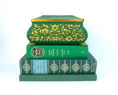 Vintage Metal Candy Tin Emerald Green Tin Box by OurModernHistory, $12.50