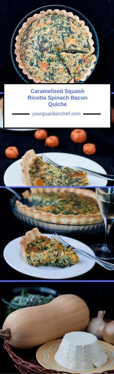 Caramelized squash, ricotta, spinach bacon quiche, all these ingredients together make the most delicioushearty Autumn meal. - Your Guardian Chef #Caramelized #butternutsquash #Spinach #Bacon #Quiche #ricotta