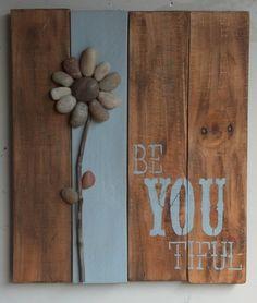 Be YOU Tiful Pebble Flower Pallet Art Rocks by PeaceLoveAndPallets