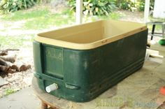 This DIY project will transform a beaten-up ice chest into a beautiful rustic cooler, perfect for your backyard or the beach this summer. Cool Diy Projects, Outdoor Projects, Backyard Projects, Craft Projects, Pallet Projects, Outdoor Ideas, Sewing Projects, Outdoor Bars, Outdoor Fun
