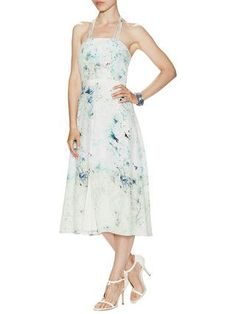 Kiley Silk Printed Flared Halter Dress