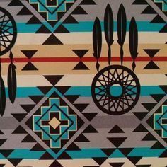 Turquoise and Gray Diamond Dreamcatcher Southwest Tribal Print CottonYou can find Aztec wallpaper and more on our websi. Native American Decor, Native American Print, Native American Patterns, American Indian Art, American History, Aztec Pattern Wallpaper, Tribal Print Pattern, Tribal Patterns, Tribal Prints