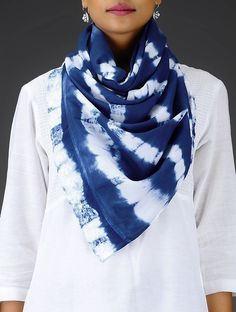 Buy Indigo White Clamp Dyed Cotton Stole with Schiffli Embroidered Lace Scarves & Stoles Specials Color Surprise and silk sarees dupattas Online at Jaypore.com