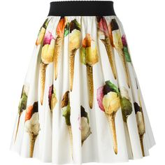Dolce & Gabbana ice-cream print skirt ($695) ❤ liked on Polyvore featuring skirts, white, elastic waist skirt, cotton elastic waist skirts, cream pleated skirt, knee length pleated skirt and white skirt